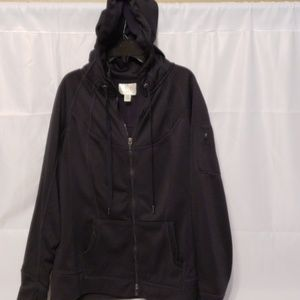 BLACK TANGERINE HOODED LONG SLEEVES FLEECE JACKET